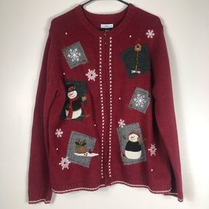 Croft & Barrow Red Christmas Sweater Jacket